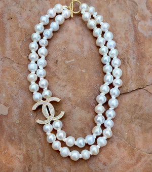 Double Strand Lustrous White Pearls Necklace