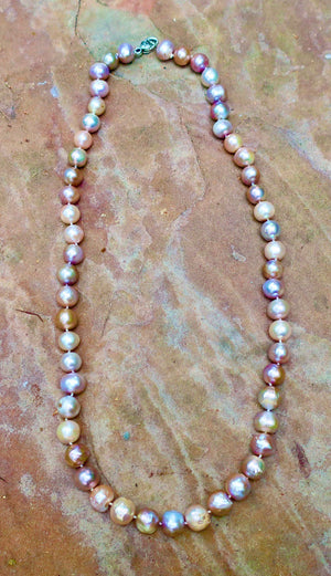 Matinee Length Rainbow Pearl Necklace
