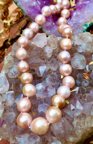 Large Blush Pearl Necklace