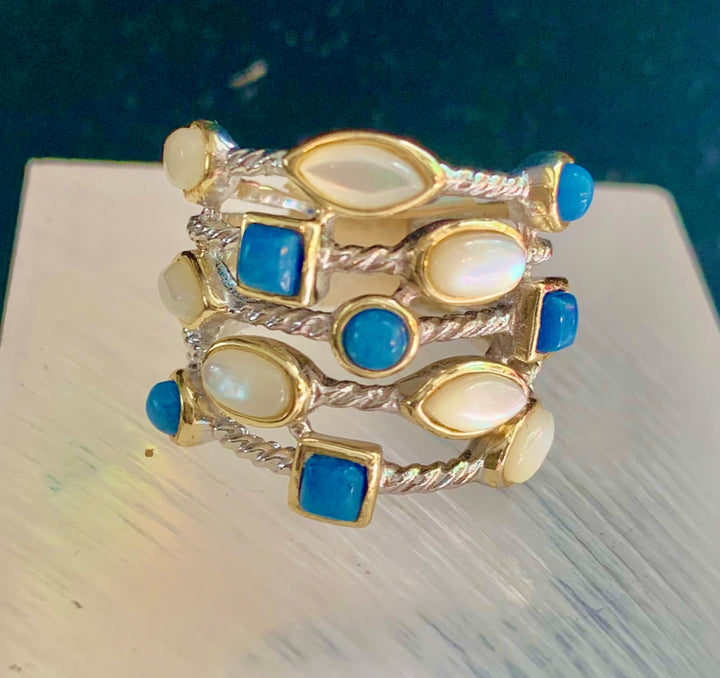 Blue and White Crystal Ring