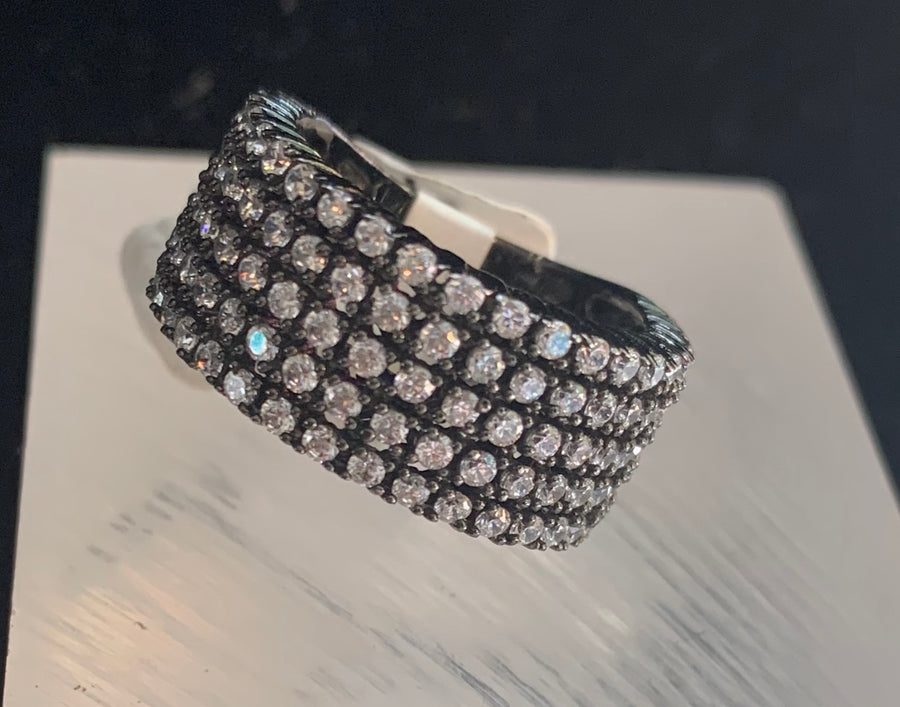 5 Rows of Pave Crystals Ring