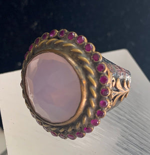 Turkish Rose Quartz and Ruby Ring
