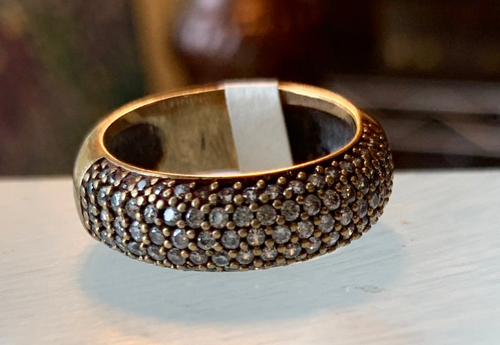 5 Rows of Pave Set Crystal Ring