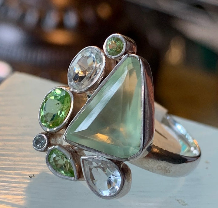 Contemporary Peridot and Crystal Ring