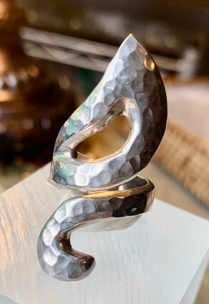 Solid Hammered Silver Ring