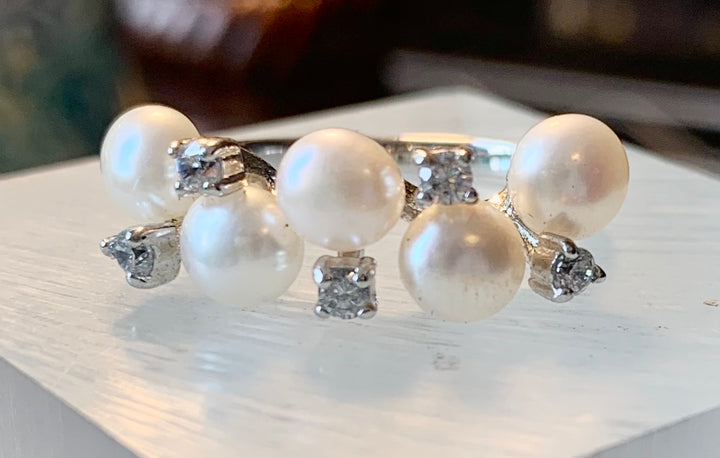 Delicate Pearl and Crystal Ring