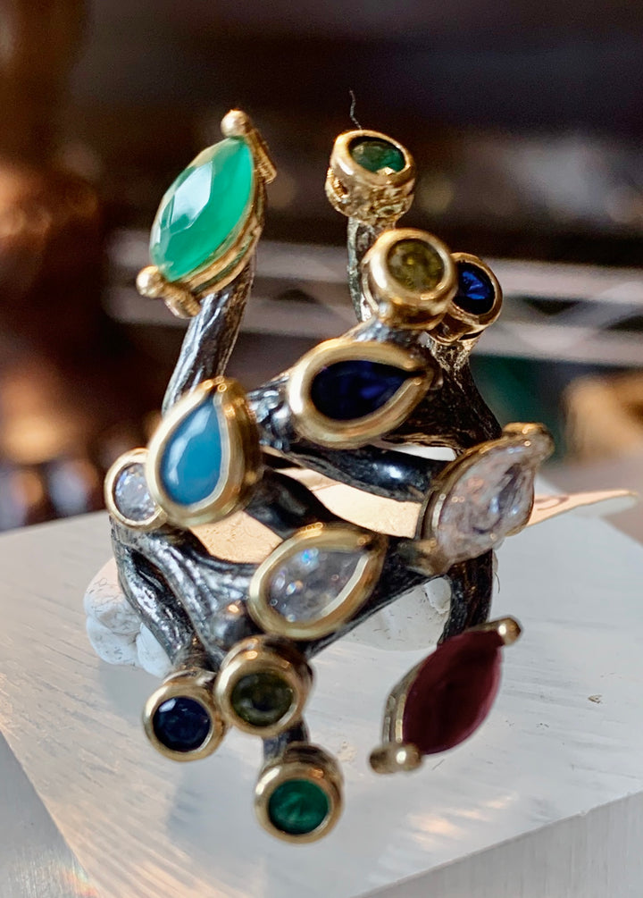 Unique Branch Gemstone Ring