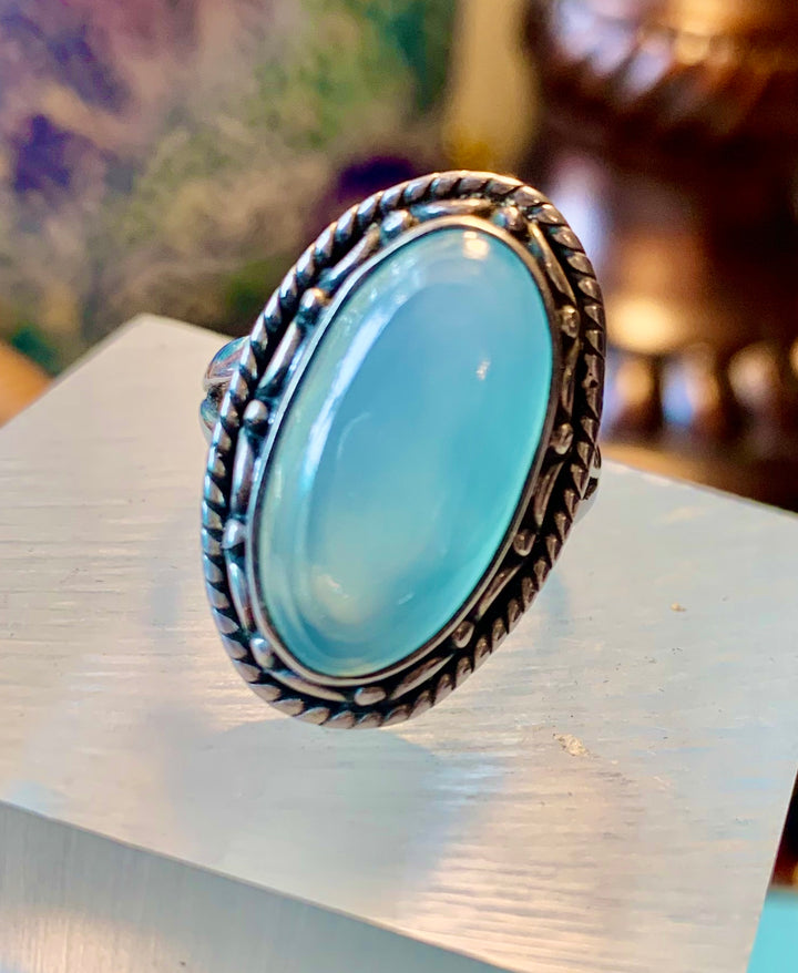 Silver Set Chalcedony Ring