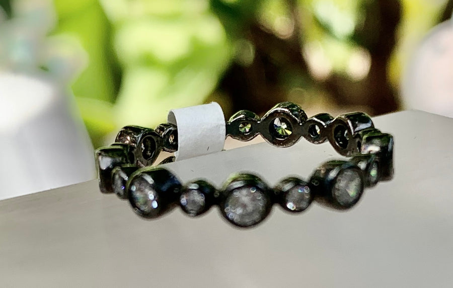 Blacken Silver Bubble Stack Ring