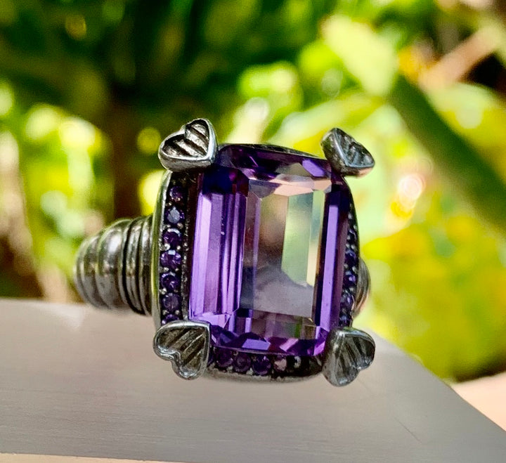 Rectangle Amethyst Ring