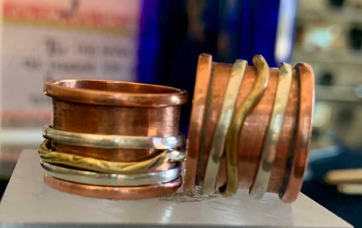 Brass and Silver Spin Ring