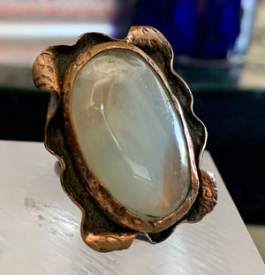 Agate and Copper Ring