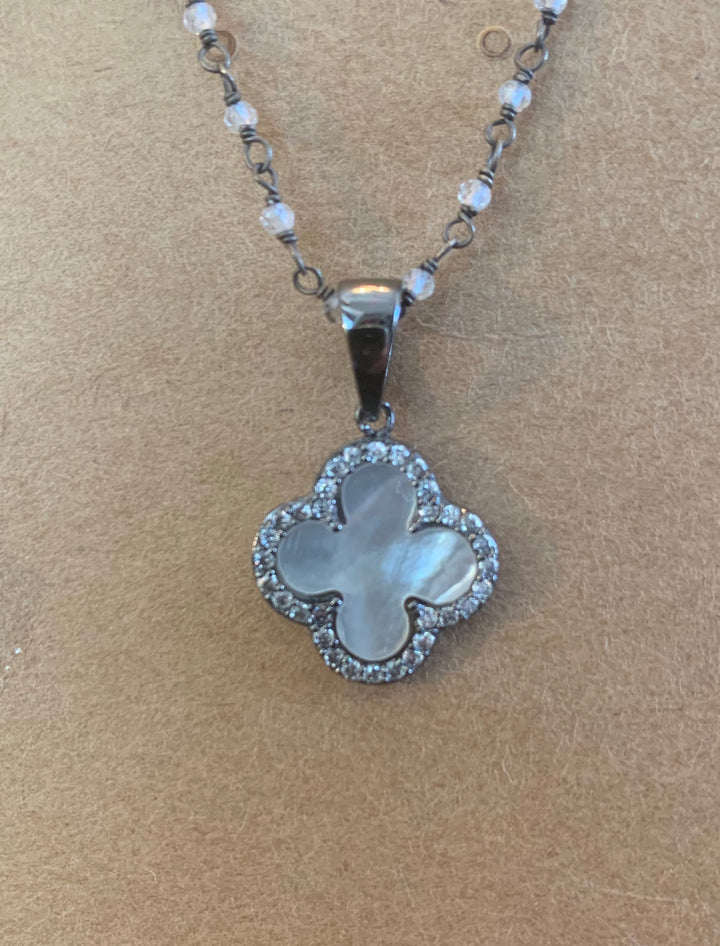 Mother of Pearl Charm with Crystals Pendant