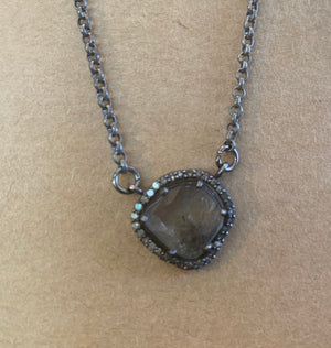 Burnished Silver Chain with Sliced Crystal Pendant