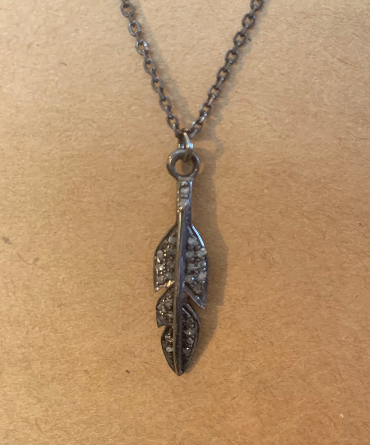 Diamond Feather Pendant