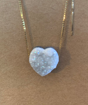Carved Heart Druzy Pendant