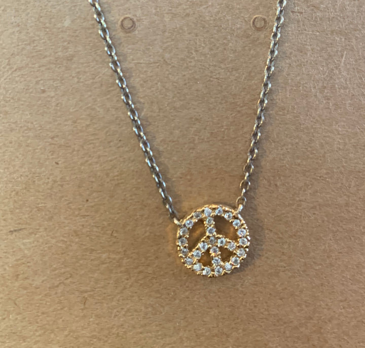 Crystal Peace Sign Pendant