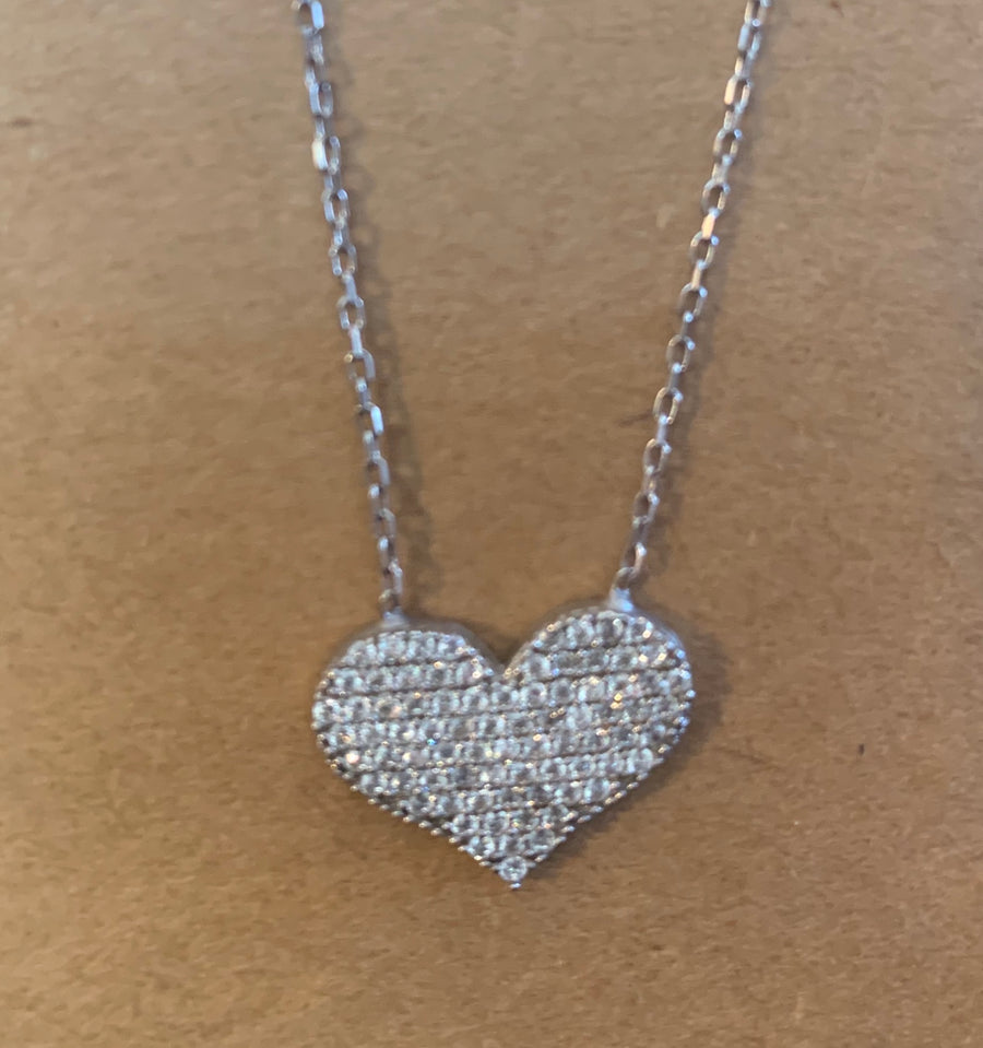 Pave Crystal Heart