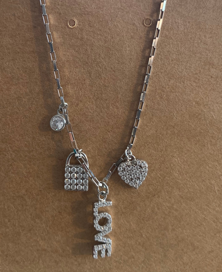Love and Heart Crystal Charms Pendant