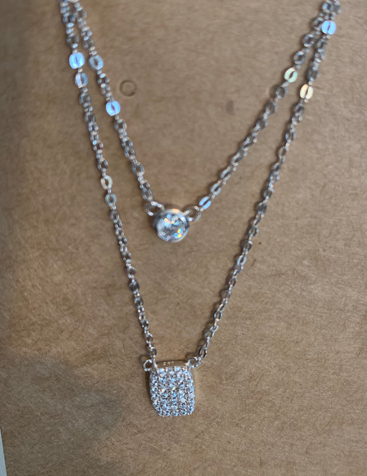 Silver and Crystal Double Drop Pendant