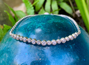 Slim Crystal and Silver Bracelet