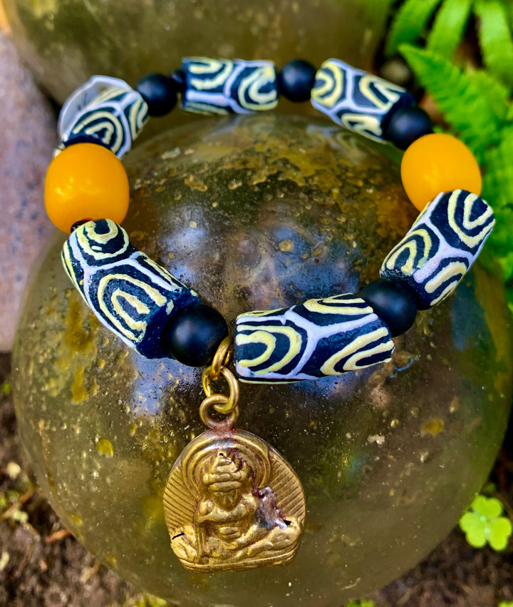 Buddha and African Trading Bead Bracelet