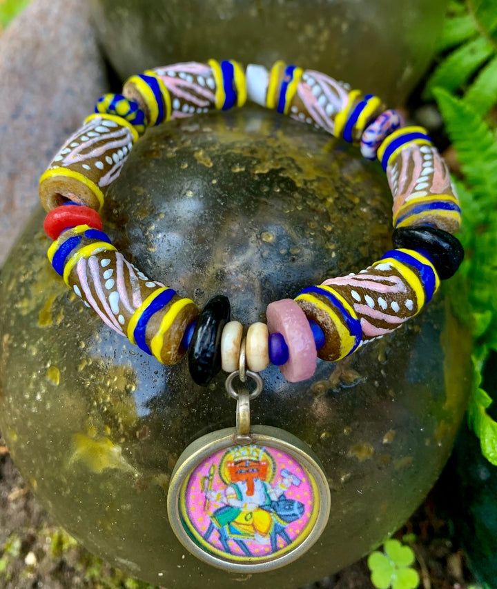 Ganesh and African Bead Bracelet