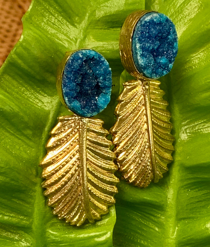 Blue Druzy with Gold Plated Drop
