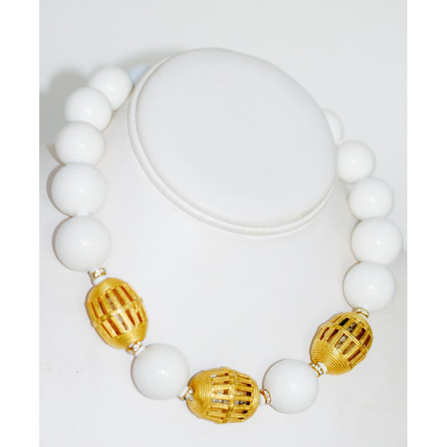 SALE White Coral and Gold Beads Necklace