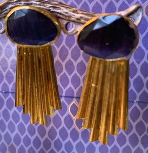 Faux Amethyst and and Gold plated Earrings