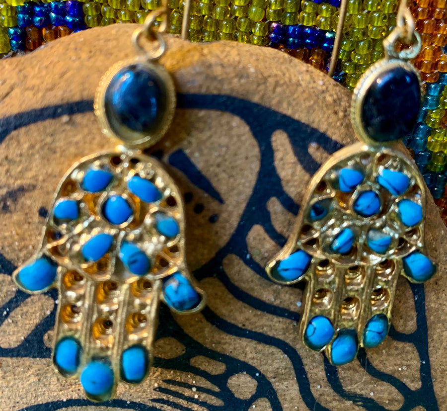 Hamsa Gold Plated with Turquoise Stone  Earrings