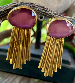 Rose Glass Contemporary Earrings