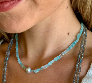 Aquamarine Beads with Pearl Necklace