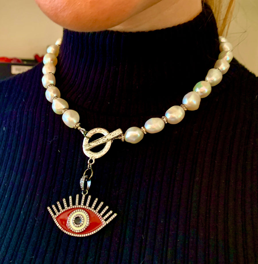 Pearl with Crystal Beads and Enamel Evil Eye