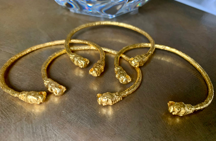 24K Gold Plated Adjustable  Cuff with Lions Head Bracelet