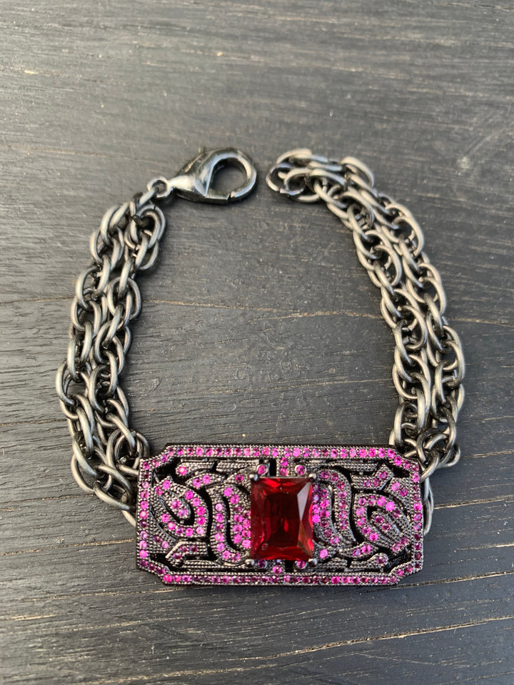 Vintage Red Shoe Clip Bracelet