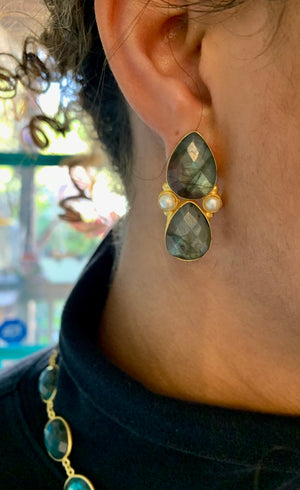 Labradorite Double Teardrop and Pearl Earrings
