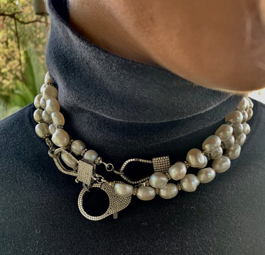 Pearls with Black Oxidized Crystal Clasp