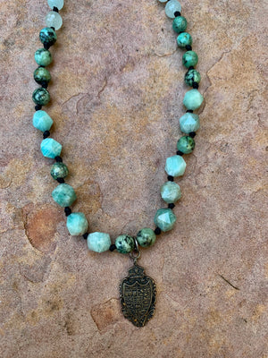 Sale Aventurine and charm Necklace