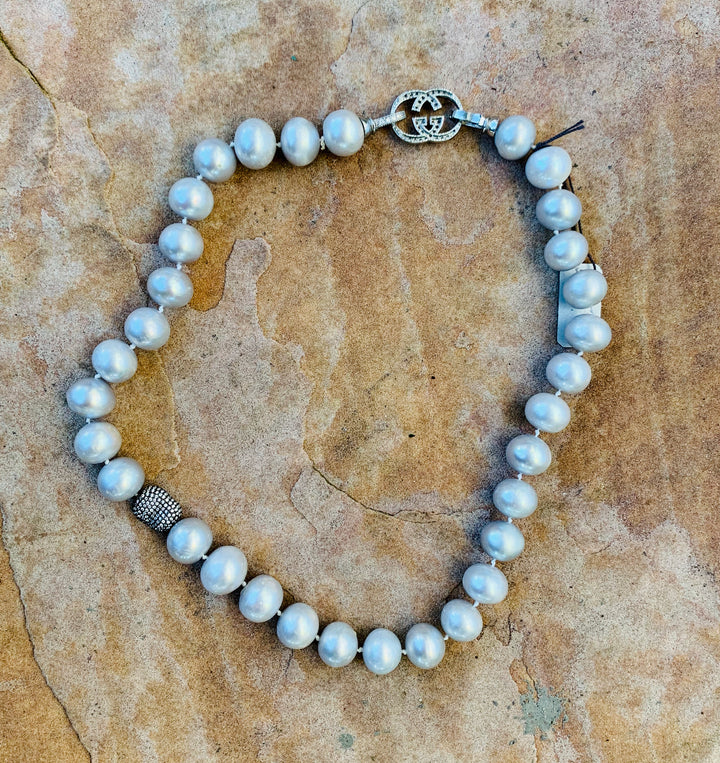 Gray Perfect Pearl Choker Necklace