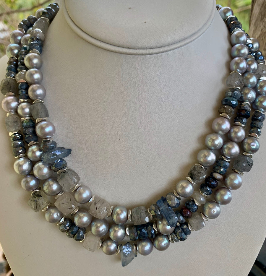 Triple Strand Dove Gray Pearls and Moonstone Necklace
