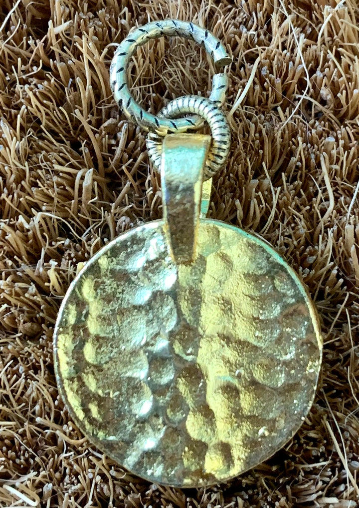 Golden Hammered Disc Charm