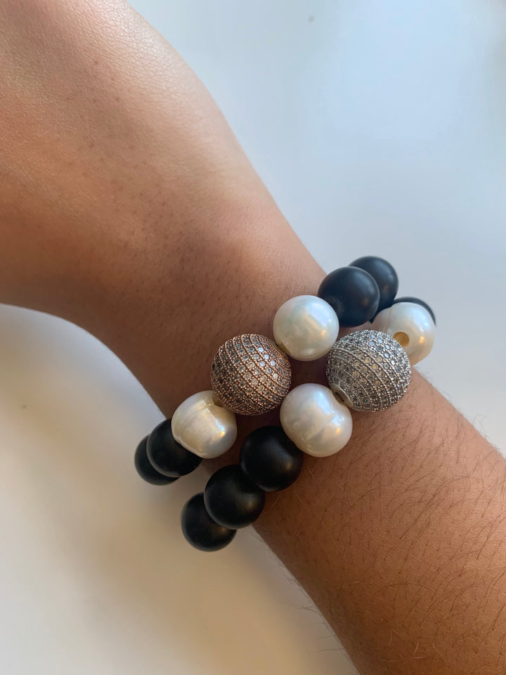 Lave Rock, Crystals and Pearl Bracelet