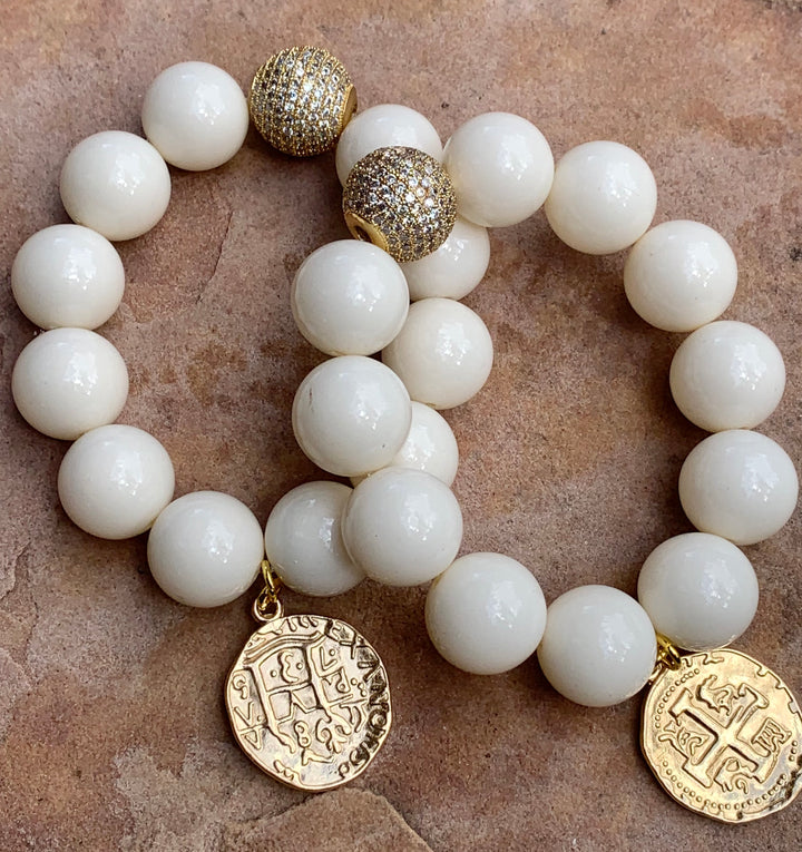 Faux Pearl Bracelet with Gold Coin