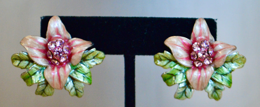 Enamel Flower Post Earrings