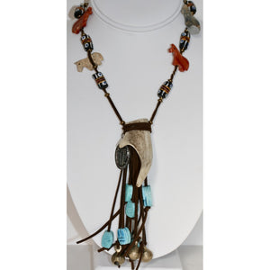 Brown Suede and Horn Necklace