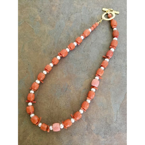 SALE- Vintage Coral and Pearl Necklace