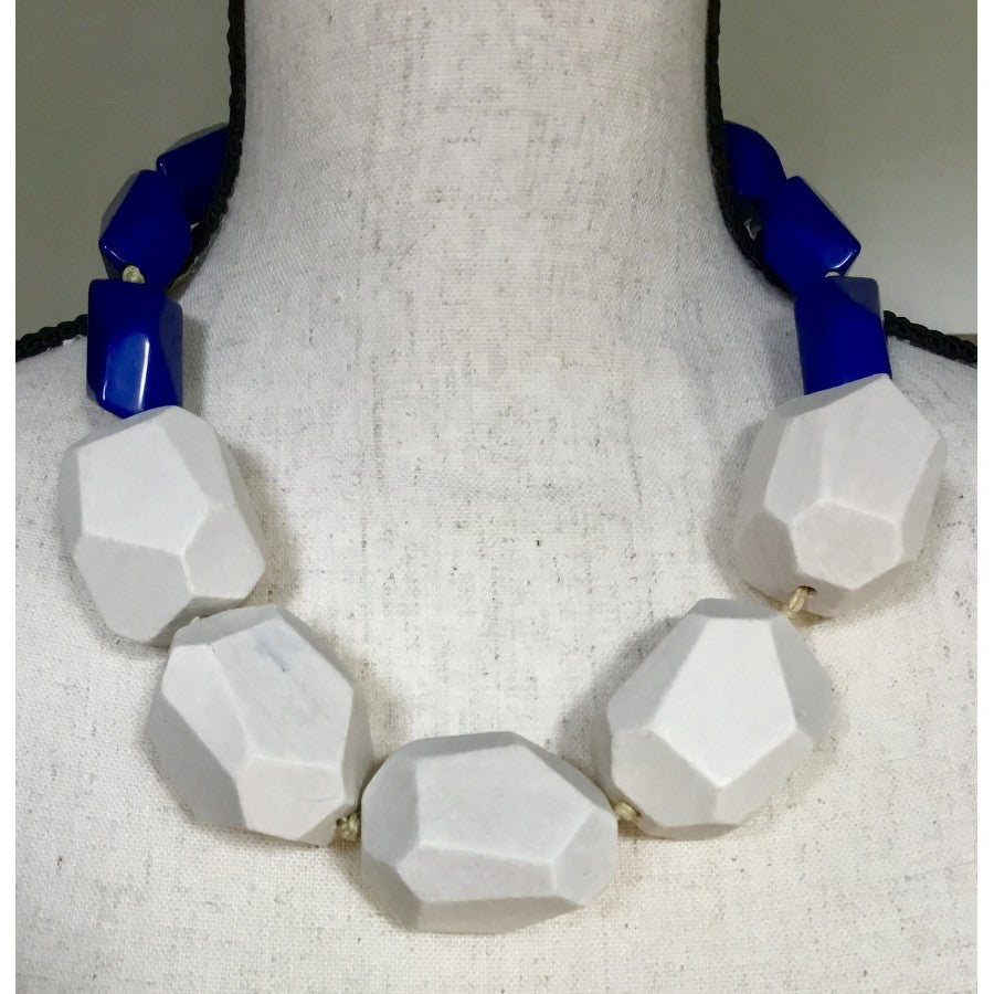 SALE Navy White Chunky Necklace