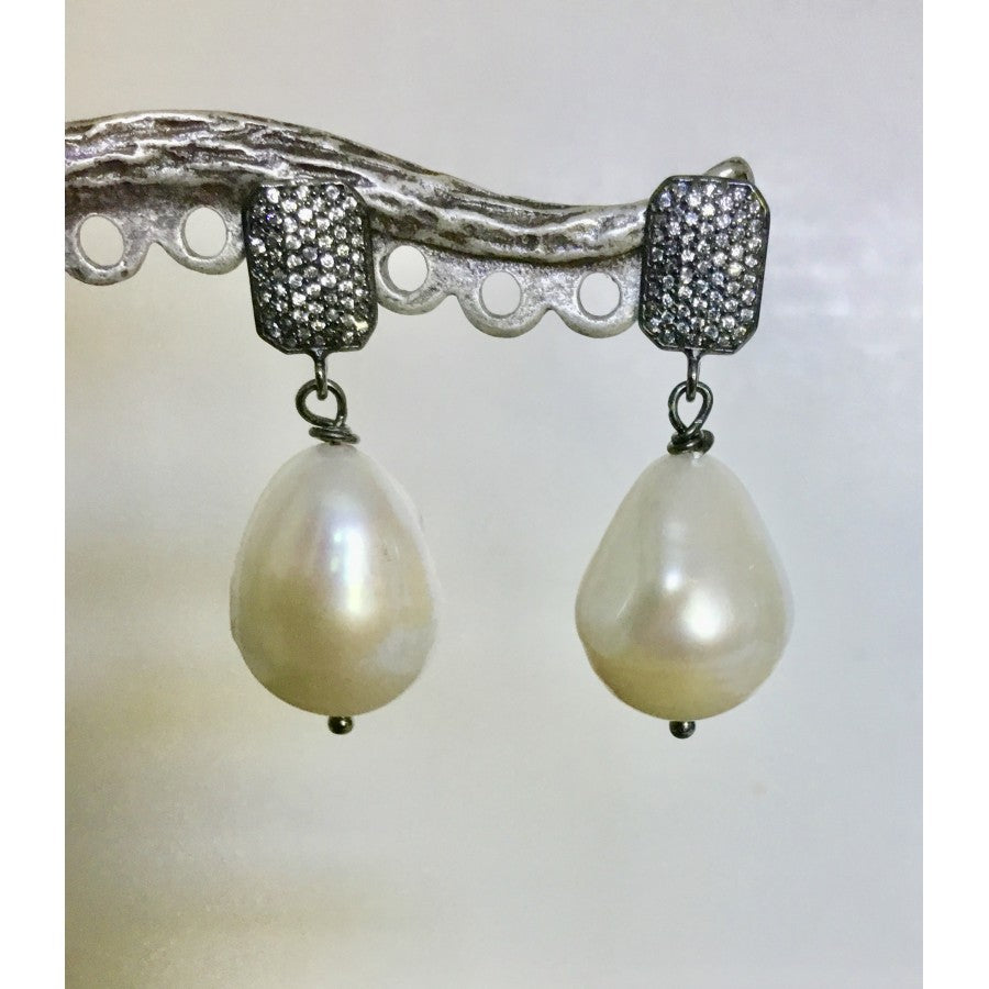Baroque Drop Pearl and White Topaz Post Earrings