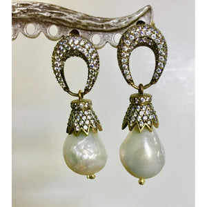 Baroque Drop Pearl and Crystal Earrings